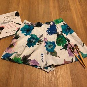 Zara Basic Floral High Waist Shorts